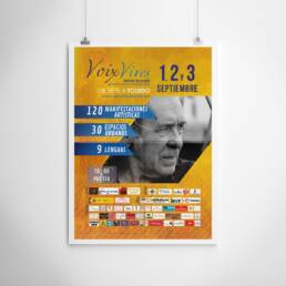Voix Vives | Diseño gráfico de carteles y pósters publicitarios para la promoción del Festival Internacional de Poesía de Toledo Voix Vives 2016, con el cantautor Paco Ibañez.