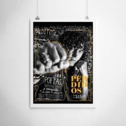Olifante Ediciones | Diseño gráfico de carteles publicitario foto-libro ´Perdidos. Un lugar para encontrar´ para su presentación en La Libre de Barrio (Leganés)