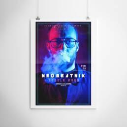 Neobeatnick | Fotografía y diseño gráfico de carteles y pósters publicitarios ´Neobeatnick´, con la participación de La Trashumante Managemente, Ya lo dijo Casimiro Parker y del músico Simón Laejarre.