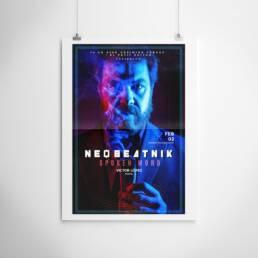 Neobeatnick | Fotografía y diseño gráfico de carteles y pósters publicitarios ´Neobeatnick´, con la participación de La Trashumante Managemente, Ya lo dijo Casimiro Parker y del poeta Víctor López.