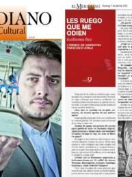 Meridiano Cultural | Fotografías promocionales del escritor argentino Guillermo Roz en la portada y en la entrevista