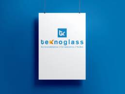 Diseño de logotipo profesional e imagen corporativa de Teknoglass, en Madrid.