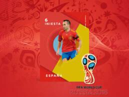 Cordon Press | Diseño de creatividad de Andrés Iniesta con la Selección Española de Fútbol para la venta de fotografías del Mundial de Rusia 2018 a los distintos medios nacionales e internacionales. Realizado por el creativo y diseñador gráfico de Madrid, Demian Ortiz.