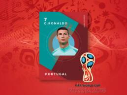Diseño de creatividad de Cristiano Ronaldo con la Selección de Fútbol de Portugal para la venta de fotografías del Mundial de Rusia 2018 a los distintos medios nacionales e internacionales.
