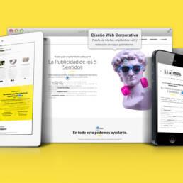 Diseño de página web corporativa, dinámica, adaptable, responsive y creación de copys publicitarios.