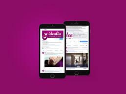 Diseño de página web corporativa de Idealia Centro de Día para mayores, adaptable a la versión mobile y tablet y creación de copys publicitarios